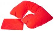 Надувная подушка под шею в чехле Sleep, красная