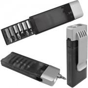Набор отверток с фонариком; черный с серебристым; 9,8х3,2х1,8 см; пластик, металл; тампопечать