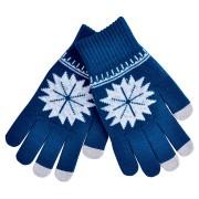 Перчатки для сенсорных экранов 'СНЕЖИНКА', темно-синий, М, акрил 40%; шерсть 30%; нейлон 30%, шеврон