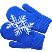 Варежки 'Сложи снежинку!',  синий, М, акрил/флис внутри,  шеврон