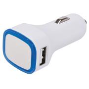 Автомобильное зарядное устройство с подсветкой и двумя USB-портами 'Mobicar',6,8х2,2x3,1см, пластик