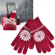 Перчатки для сенсорных экранов 'СНЕЖИНКА',  красный, М, акрил 40%; шерсть 30%; нейлон 30%, шеврон