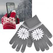 Перчатки для сенсорных экранов 'СНЕЖИНКА',  серый, М, акрил 40%; шерсть 30%; нейлон 30%, шеврон