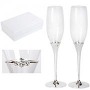 Бокалы для шампанского 'Crystal' (2шт), D=6,8см, Н=25,2см, стекло, посеребренный металл,лаковое покр