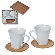 Набор 'Натали': две чайные пары в подарочной упаковке, 200мл, фарфор, бамбук