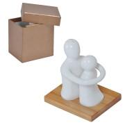Набор 'Объятия': солонка и перечница в подарочной упаковке, 9х7х11см, фарфор, бамбук
