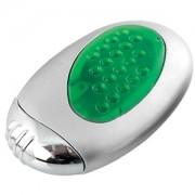Зажигалка 'Классика' с подсветкой; серебристый с зеленым; 3,5х1,6х6 см; металл, пластик; лазерная гр