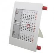 Календарь настольный на 2 года; белый с красным; 18х11 см; пластик; тампопечать, шелкография