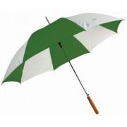 Зонт-трость с деревянной ручкой, полуавтомат; белый с зеленым; D=103 cм; нейлон; шелкография
