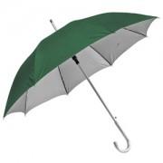 Зонт-трость с пластиковой ручкой 'под алюминий' 'Silver', полуавтомат; зеленый с серебром; D=103 cм;