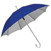 Зонт-трость с пластиковой ручкой 'под алюминий' 'Silver', полуавтомат; синий с серебром; D=103 см;