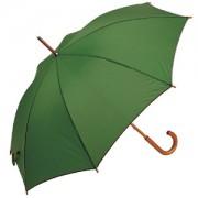 Зонт-трость с деревянной ручкой, полуавтомат; зеленый; D=103 см, L=90см; нейлон; шелкография