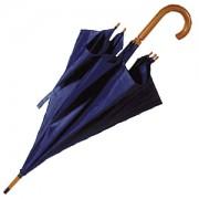 Зонт-трость с деревянной ручкой, полуавтомат; синий; D=103 см, L=90см; нейлон; шелкография