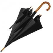 Зонт-трость с деревянной ручкой, полуавтомат; черный; D=103 см, L=90см; нейлон; шелкография