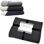 Плед 'Твин' двусторонний, черный/белый,  130х150 см; акрил 350 гр,  вышивка