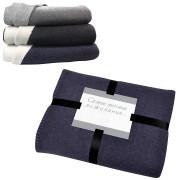 Плед 'Твин' двусторонний, синий/белый,  130х150 см; акрил 350 гр  вышивка