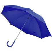 Зонт-трость с пластиковой ручкой, механический; синий; D=103 см; нейлон; шелкография