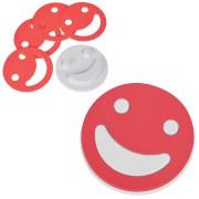 Набор подставок под кружку 'Улыбнись!' (4шт.), красный, D=12,5см,Н=1,7см, пластик