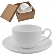 Чайная пара 'Классика' в подарочной упаковке; 16,5х16,5х11см,190мл; фарфор; деколь