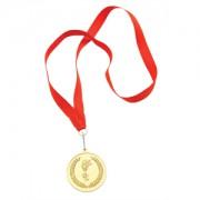 Медаль наградная на ленте 'Золото'; 48 см., D=5см.; текстиль, металл; лазерная гравировка, шелкограф