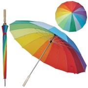 Зонт-трость 'Радуга' (полуавтомат), D=110см, нейлон, дерево, шелкография