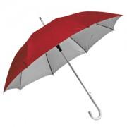 Зонт-трость с пластиковой ручкой 'под алюминий' 'Silver', полуавтомат; красный с серебром; D=103 cм