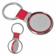 Брелок 'Круг вращения ' красный; 8х4 см; металл, искусственная кожа, пластик; лазерная гравировка