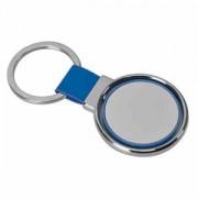 Брелок 'Круг вращения ' синий; 8х4 см; металл, искусственная кожа, пластик; лазерная гравировка