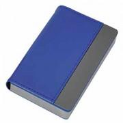 Визитница 'Горизонталь'; синий; 10х6,5х1,7 см; иск. кожа, металл; лазерная гравировка