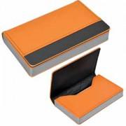 Визитница 'Горизонталь'; оранжевый; 10х6,5х1,7 см; иск. кожа, металл; лазерная гравировка