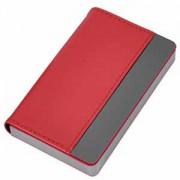 Визитница 'Горизонталь'; красный; 10х6,5х1,7 см; иск. кожа, металл; лазерная гравировка