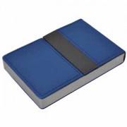 Визитница 'Меридиан'; синий; 9,5х6,4х1,6 см; иск. кожа, металл; лазерная гравировка