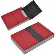 Визитница 'Меридиан'; красный; 9,5х6,4х1,6 см; иск. кожа, металл; лазерная гравировка