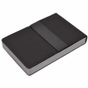 Визитница 'Меридиан'; черный; 9,5х6,4х1,6 см; иск. кожа, металл; лазерная гравировка