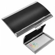 Визитница 'Берлин'; черный с серебристым; 9,4х6,2х1 см см; металл; лазерная гравировка, тампопечать