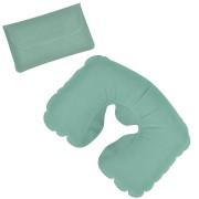 Подушка надувная дорожная в футляре; светло-зеленый; 43,5х27,5 см; твил; шелкография