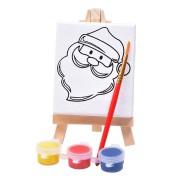 Набор для раскраски 'Дед Мороз':холст,мольберт,кисть, краски 3шт, 7,5х12,5х2 см, дерево, холст