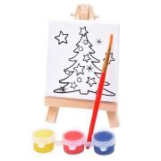 Набор для раскраски 'Ёлочка':холст,мольберт,кисть, краски 3шт, 7,5х12,5х2 см, дерево, холст