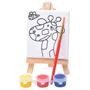 Набор для раскраски 'Жираф':холст,мольберт,кисть, краски 3шт, 7,5х12,5х2 см, дерево, холст