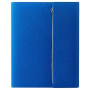 Папка А4  'PATRIX'  с блокнотом и карманом  на молнии, синяя, микрофибра