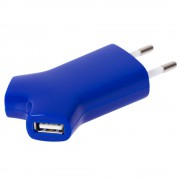 Сетевое зарядное устройство Uniscend Double USB, синее