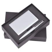 Набор 'Mirror': универсальное зарядное устройство (6000мАh) и ручка, серебристый, 17,5х11х4см,металл