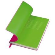 Бизнес-блокнот 'Funky' розовый с  зеленым  форзацем, мягкая обложка,  линейка