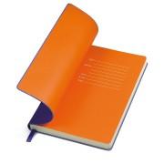 Бизнес-блокнот 'Funky' фиолетовый с оранжевым форзацем, мягкая обложка,  линейка