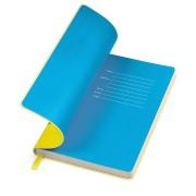 Бизнес-блокнот 'Funky' желтый с голубым  форзацем, мягкая обложка,  линейка