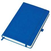 Бизнес-блокнот 'Justy', 130*210 мм, синий, твердая обложка,  резинка 7 мм, блок-линейка, тиснение