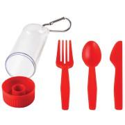 Набор 'Pocket':ложка,вилка,нож в футляре с карабином, красный, 4,2х15см,пластик
