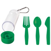 Набор 'Pocket':ложка,вилка,нож в футляре с карабином, зеленый, 4,2х15см,пластик