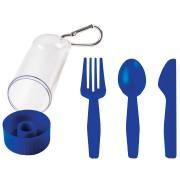 Набор 'Pocket':ложка,вилка,нож в футляре с карабином, синий, 4,2х15см,пластик