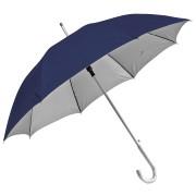 Зонт-трость с пластиковой ручкой 'под алюминий' 'Silver', полуавтомат; темно-синий с серебром; D=103
